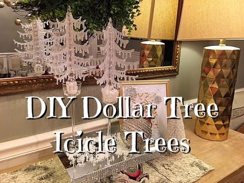 DIY Dollar Tree Icicle Trees How To