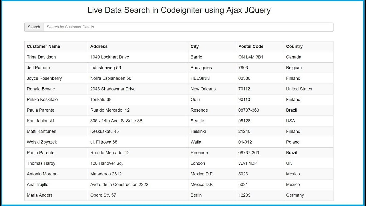 Live Data Search in Codeigniter using Ajax JQuery