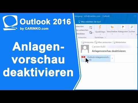 Outlook 2010, 2013, 2016 Anlagenvorschau deaktivieren - carinko