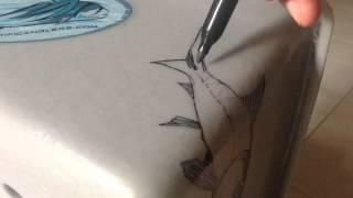 Drawing bonefish on Orvis stripping basket