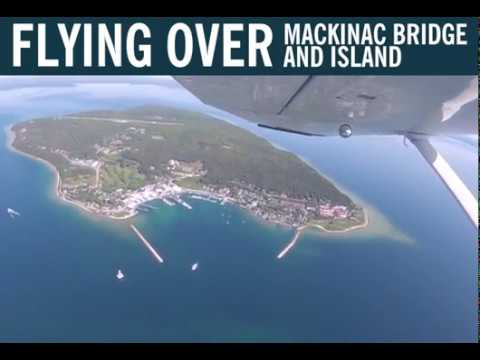 Flying over the Straits of Mackinac