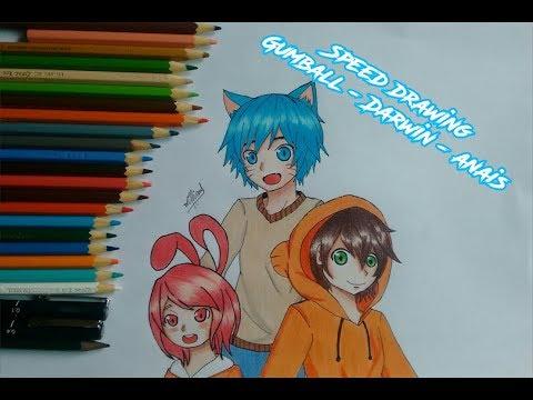 Speed Drawing - Gumball, Darwin e Anaís - anime version (Incrivel Mundo de Gumball)