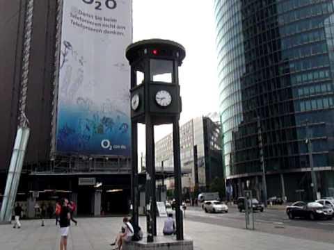 Traffic light tower at Potsdamer Platz in  Berlin Germany
