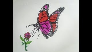 Amazing Coloring Butterfly , How to draw Easy butterfly  | Flower and Buterfly  scenery drawing