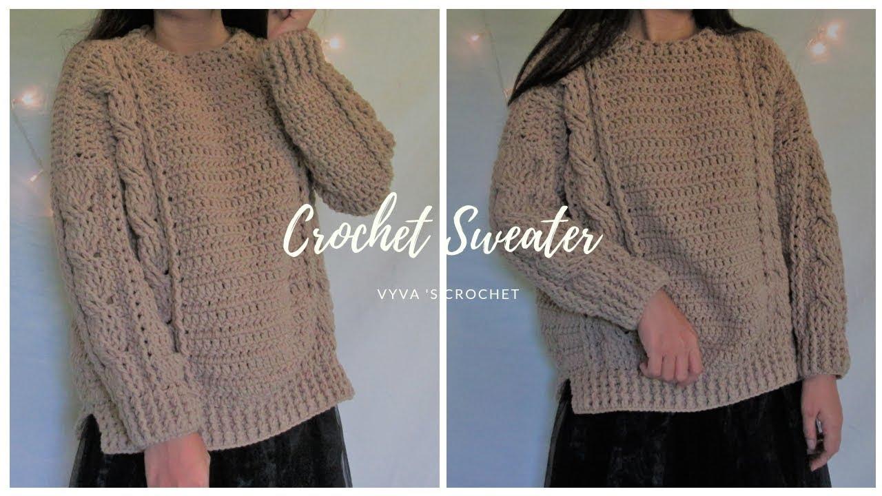 Crochet Sweater | Hướng dẫn móc áo len xẻ tà họa tiết vặn thừng siêu xinh| Vyvascrochet