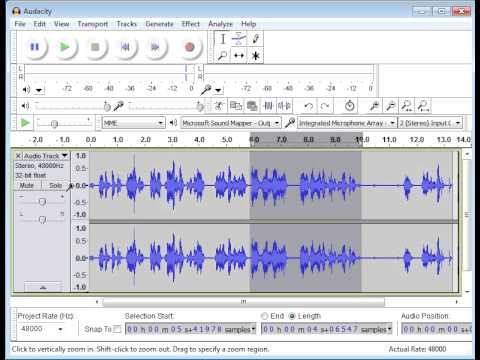 How to record edit and encode audio for the Wiki Voice Project using Audacity