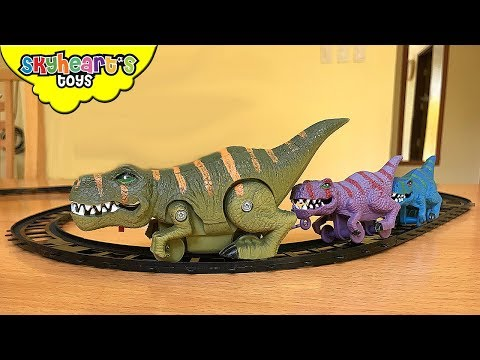 DINOSAUR TRAIN TOYS and triceratops cars, trex dinosaurs for kids children jurassic world