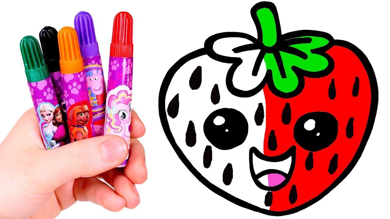 Dibuja Y Colorea Una Fresa Kawaii Frutas Kawaii