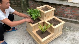 Amazing Reusable Wood Project - How To Process Pallet Wood Into Beautiful Flower Pots Easily