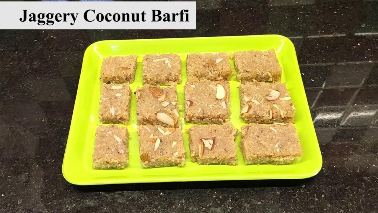 Jaggery Coconut Barfi | गूळ नारळ बर्फी