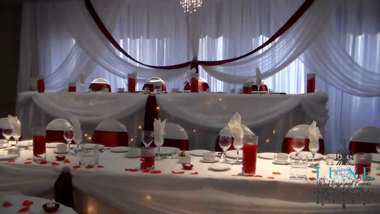 2013 Burgundy And White Wedding Decor By LUXE Weddings Events