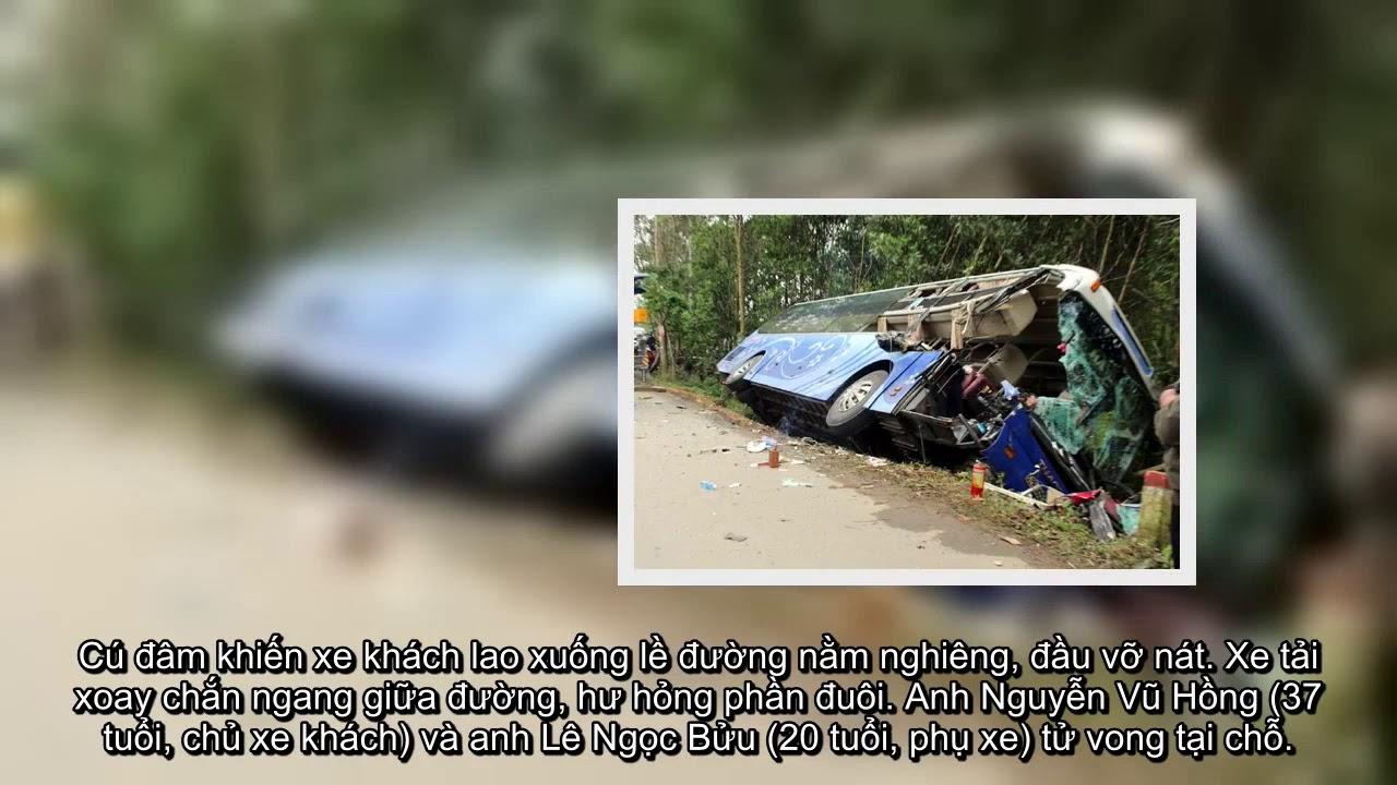 [ Tin hót nhanh ] Xe khách tông xe tải đậu bên đường, hai người tử vong