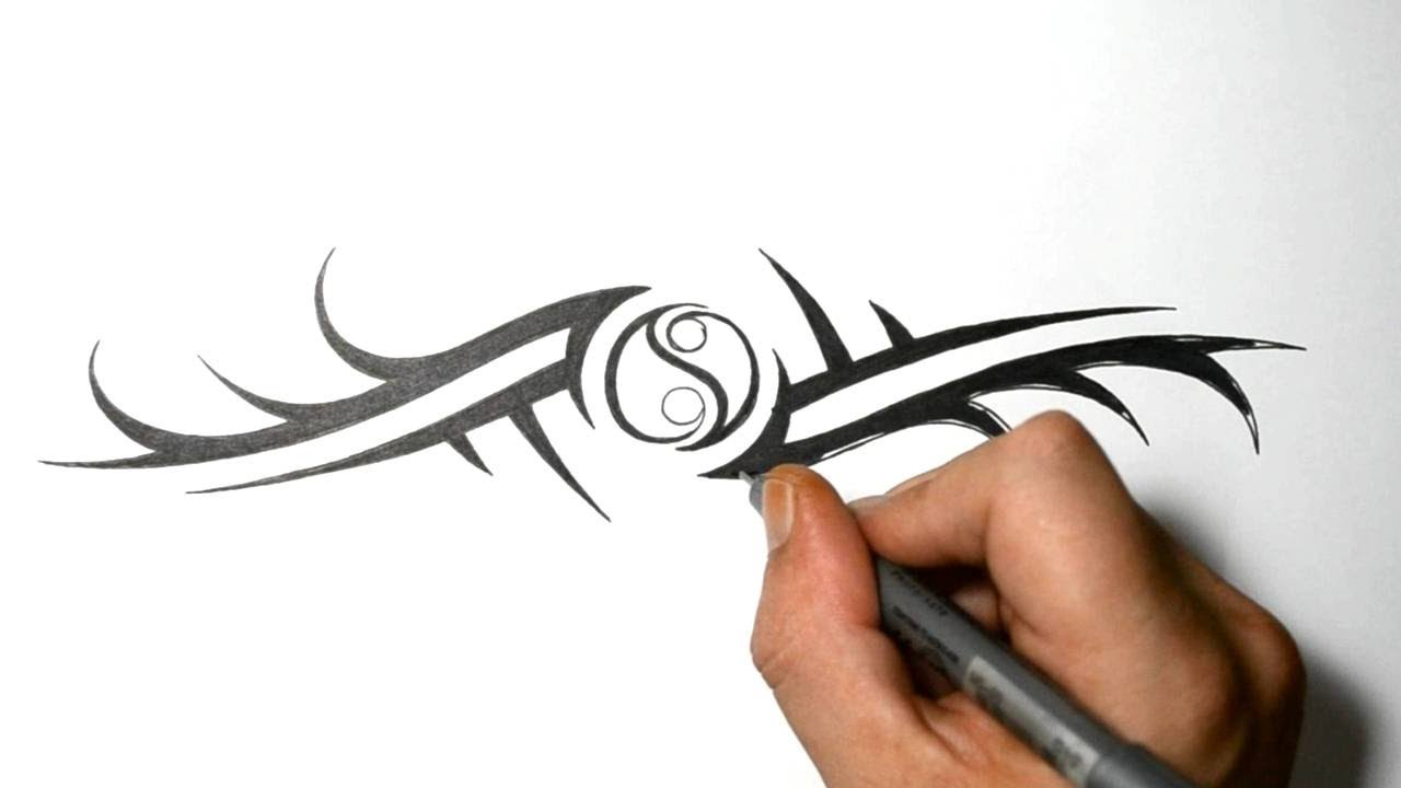 3cade79a898cd How to Draw a Tribal Armband with a Yin Yang - YouTube