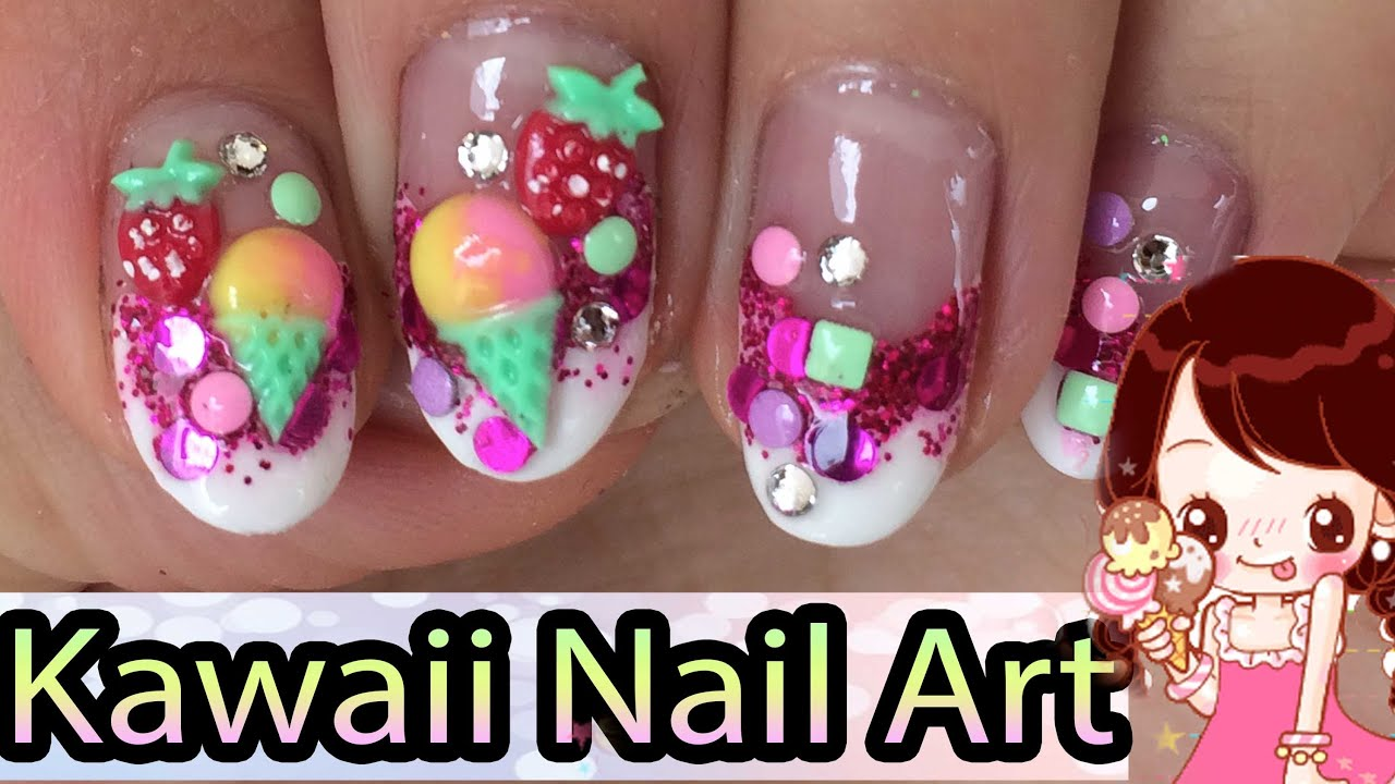 3d ice cream strawberry gel nail art design youtube prinsesfo Images