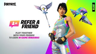 How To Get Tнe RAINBOW RACER SKIN For FREE! (Fortnite Refer A Friend Program With FREE Rewards)