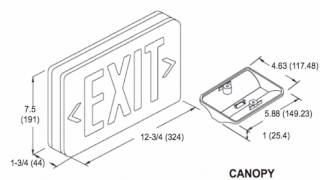 xt cl rw em led exit sign combo red letter