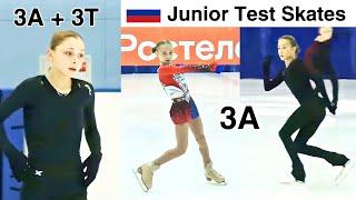 Russian Junior Test Skates Short Program Zhilina Akatyeva Samodelkina 3A 3T jumps