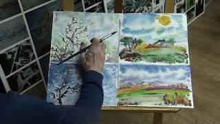 Природа и архитектура. Видеоурок рисования акварелью.