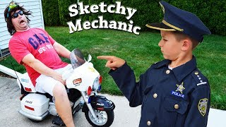 Sketchy Mechanic works on Officer Ryan's Police Motorcycle! Silly Funny Kids YouTube Video with Smal