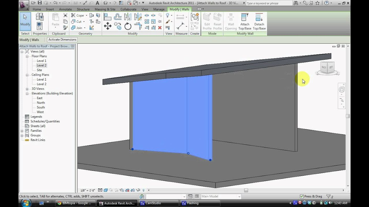 Revit Attaching Walls To Roof Youtube