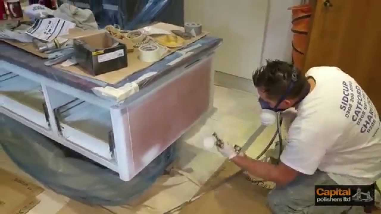 Paint Spraying Kitchen Cabinets   SieMatic Kitchen Refinishing, Respraying  Doors   YouTube