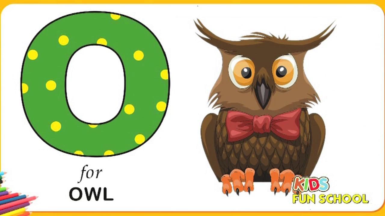 ABCD Alphabet Coloring || O For Owl || Kids Fun School || Colouring ...