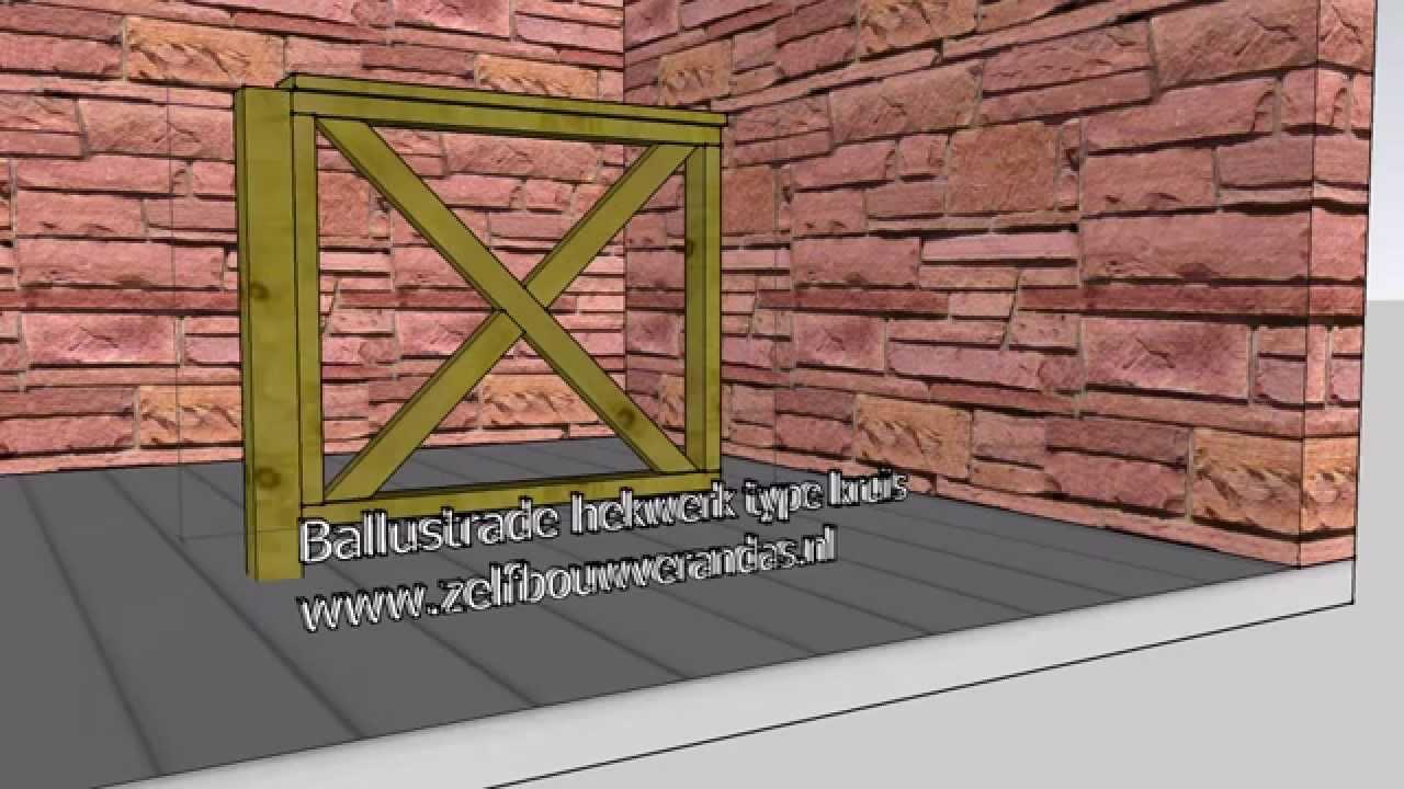 Fonkelnieuw ballustrade hout hekwerk type kruis lengte 1000 hoogte 900 www BS-14