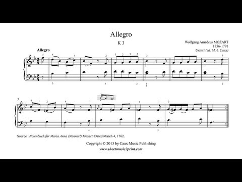 Mozart : Allegro in B flat Major, K 3