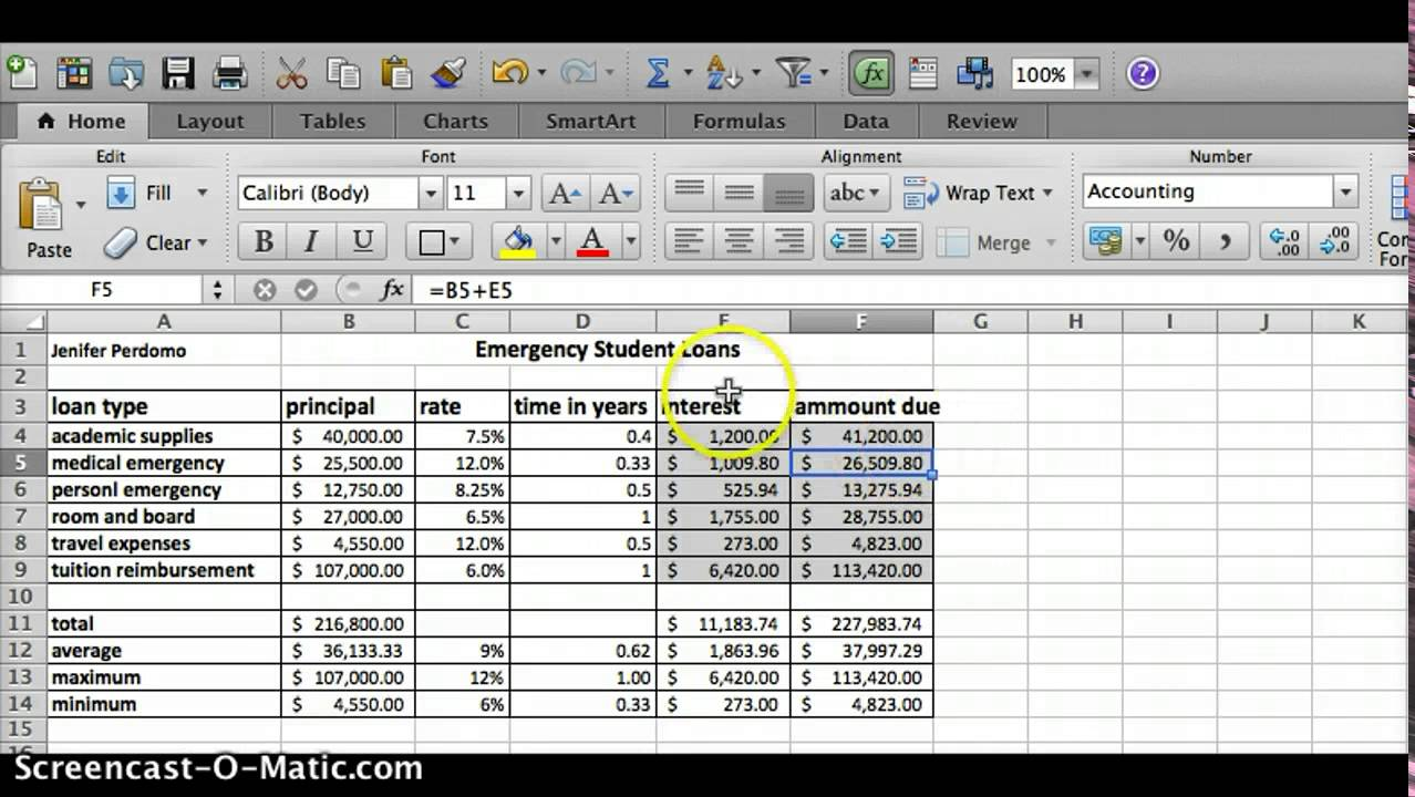 Emergency student loans excel spreadsheet youtube for Student loan repayment excel template