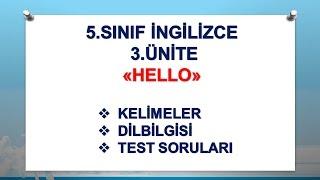 5.Sınıf İngilizce 3.ünite Konu Anlatımı Test Soruları