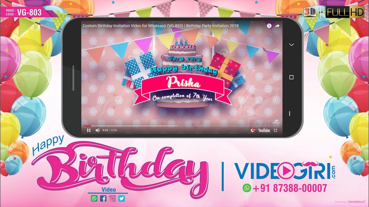 birthday party invitation animated