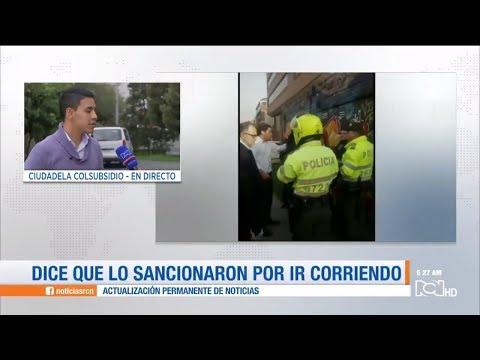 Habitante de Bogotá denuncia que lo multaron por ir corriendo en la calle