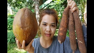 Amazing cooking Cassava With Coconut recipe -Cassava Cake -How to Cook cassava -Village food factory