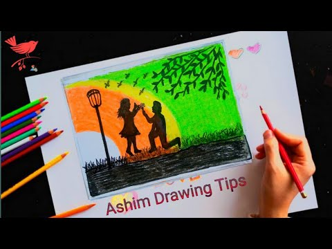 valentine-day-drawing-2020-ll-boy-propose-to-girl-drawing-2020