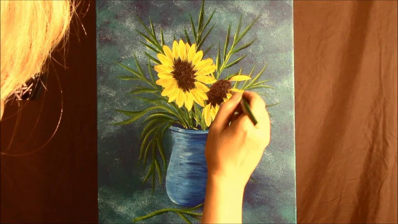 How to paint a vase of flowers part 2 sunflowers purple how to paint a vase of flowers part 2 sunflowers purple daisies and babies breath reviewsmspy