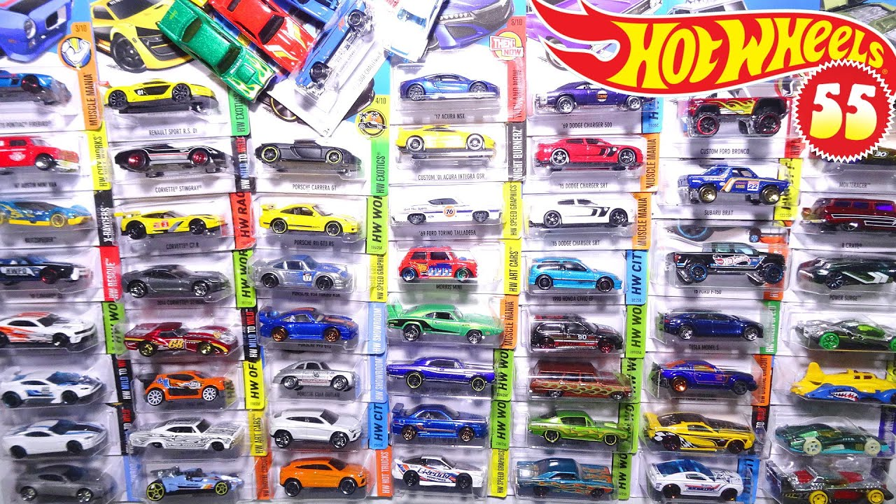 opening 55 hot wheels carded toy cars sports cars trucks muscle cars police racecars and more youtube