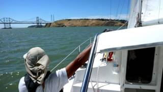 Sailing Upwind Fast on a Gemini 105MC Catamaran, best sailboat for cruising on SF Bay