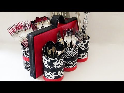 How to make EASY Tin Can Storage & Organizer - DIY Tin Can Craft