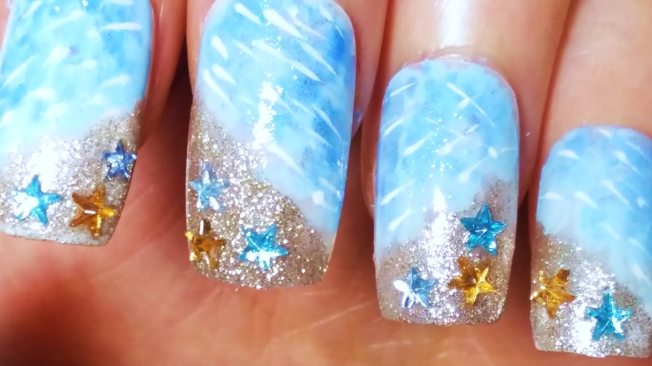 Beach Nail Art - Tutorial Unghie Spiaggia - YouTube