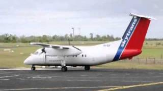 Skytrans Airlines Dash-8-100 VH-QQF Taxiing to Parking at Clermont Aerodrome