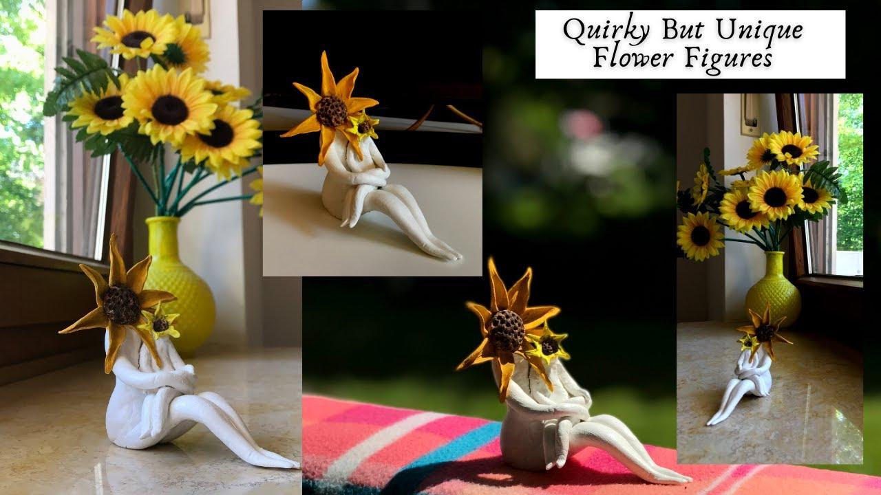 Quirky Unique Clay Figures | Home Decor | DIY Flower Sculpture | Easy Clay Craft Ideas