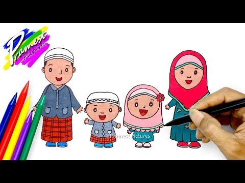 Keluarga Muslim Cara Menggambar Dan Mewarnai Kartun Youtube