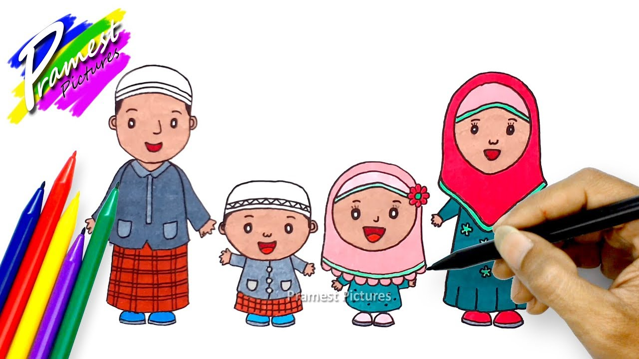 How To Draw And Color Cartoons Of Muslim Families