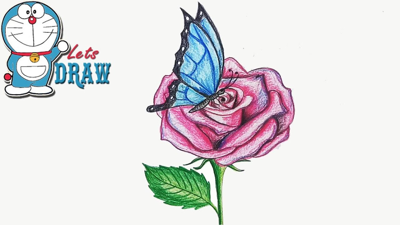 how to draw butterfly on the flower step by step youtube