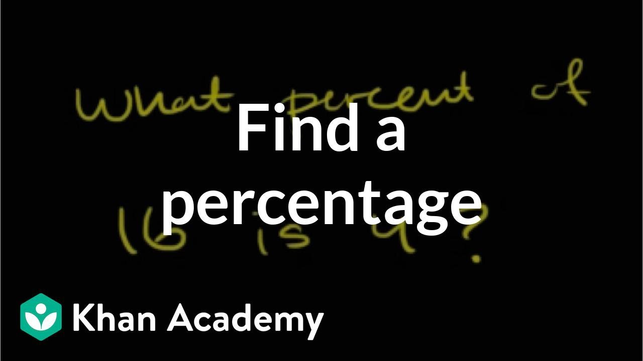 How To Find Percentage Tutorial Arithmetic Video Khan Academy