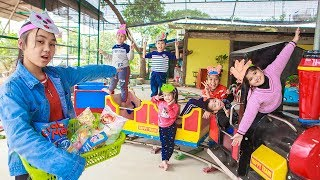 Kids Go To School | Chuns With Best Friends Play Car Train In Fairy Garden Children's City Toys