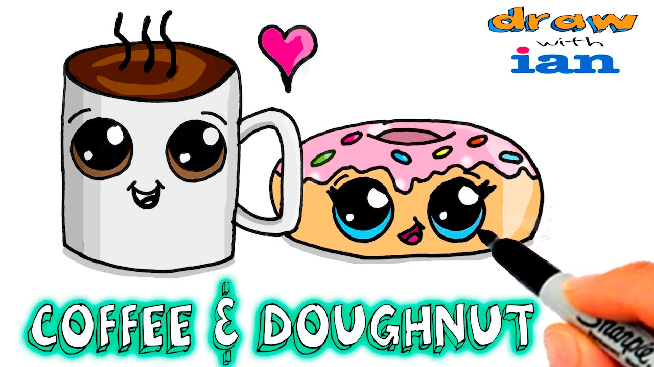 How to Draw Cute Coffee and Doughnut #1