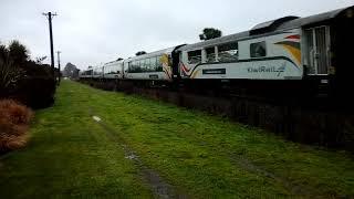 Tranz Alpine train passing Railway reserve in Templeton