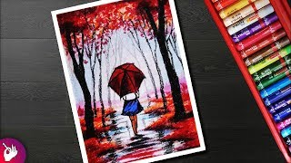 Rainy season scenery drawing for beginners with oil pastel - Girl in rain