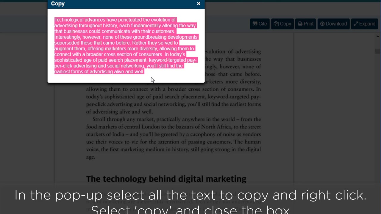 How to copy from an ebook